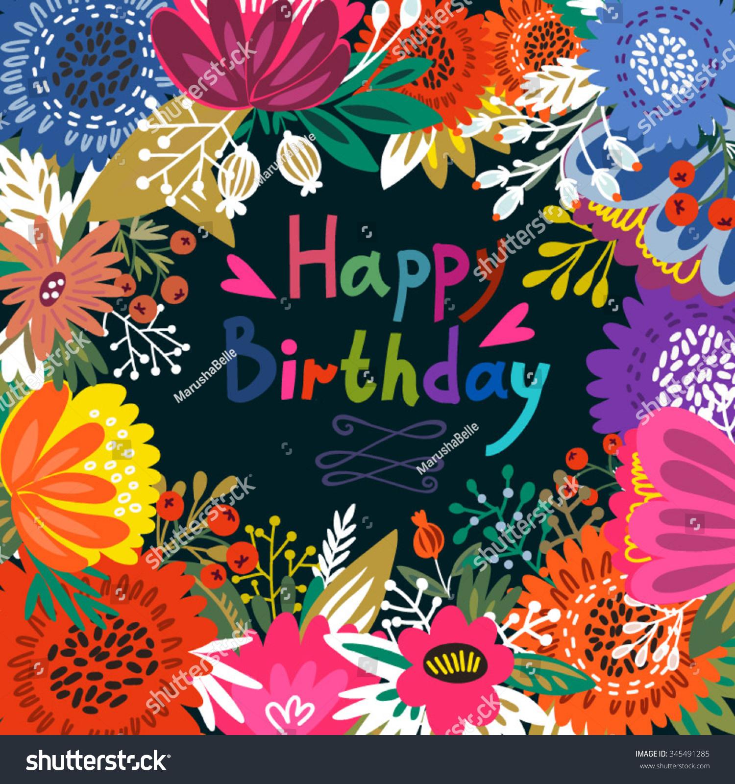 Beautiful Greeting Card Happy Birthday Bright Stock Vector Royalty