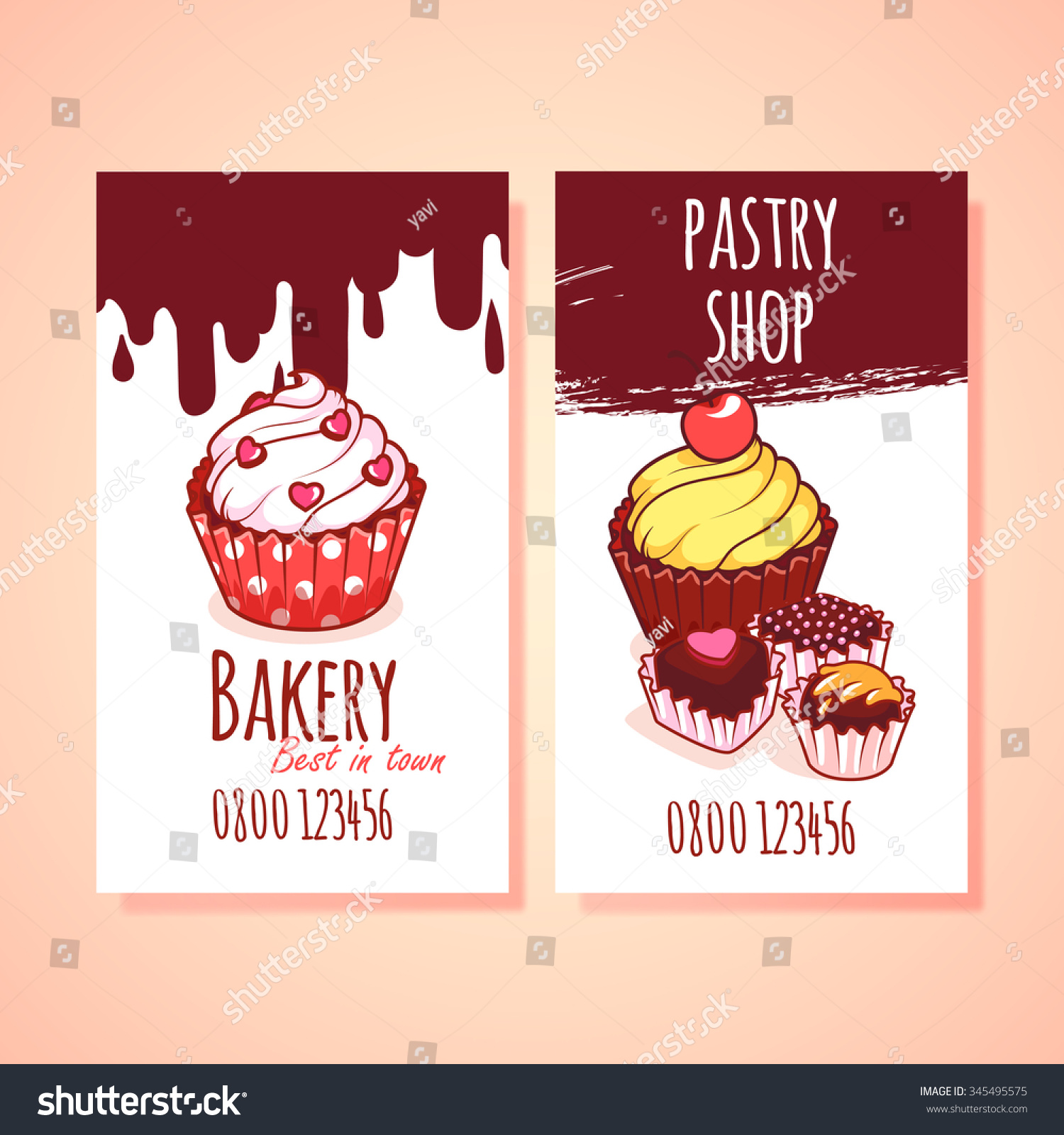 Two Vertical Orientation Business Card Pastry Stock Vector