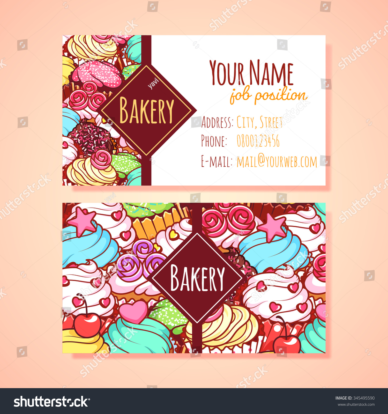 Two Horizontal Business Card Template Pastry Stock Vector ...