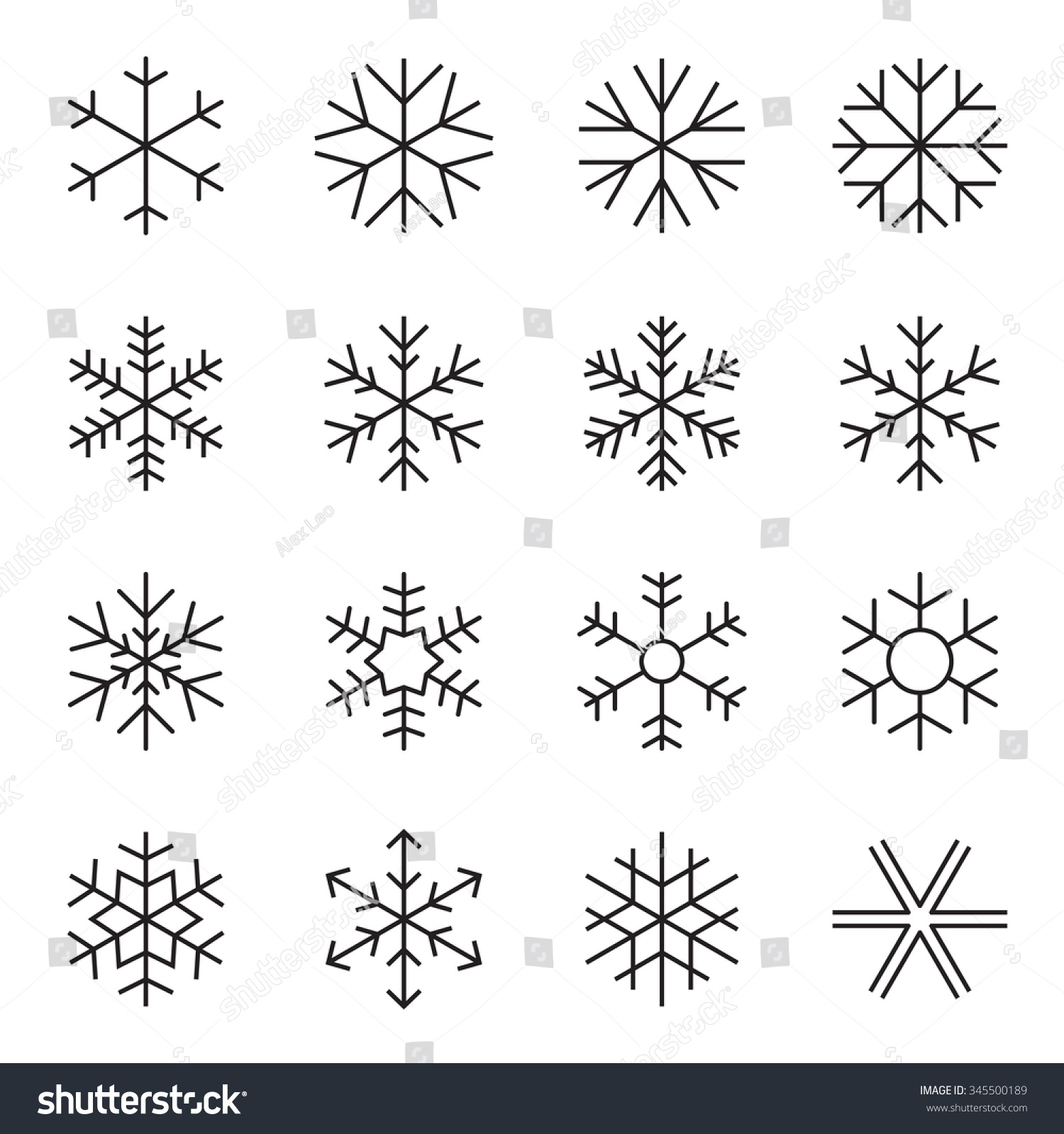 Simple Snowflake Line Art : Thin line simple snowflake icons symbols of winter frost