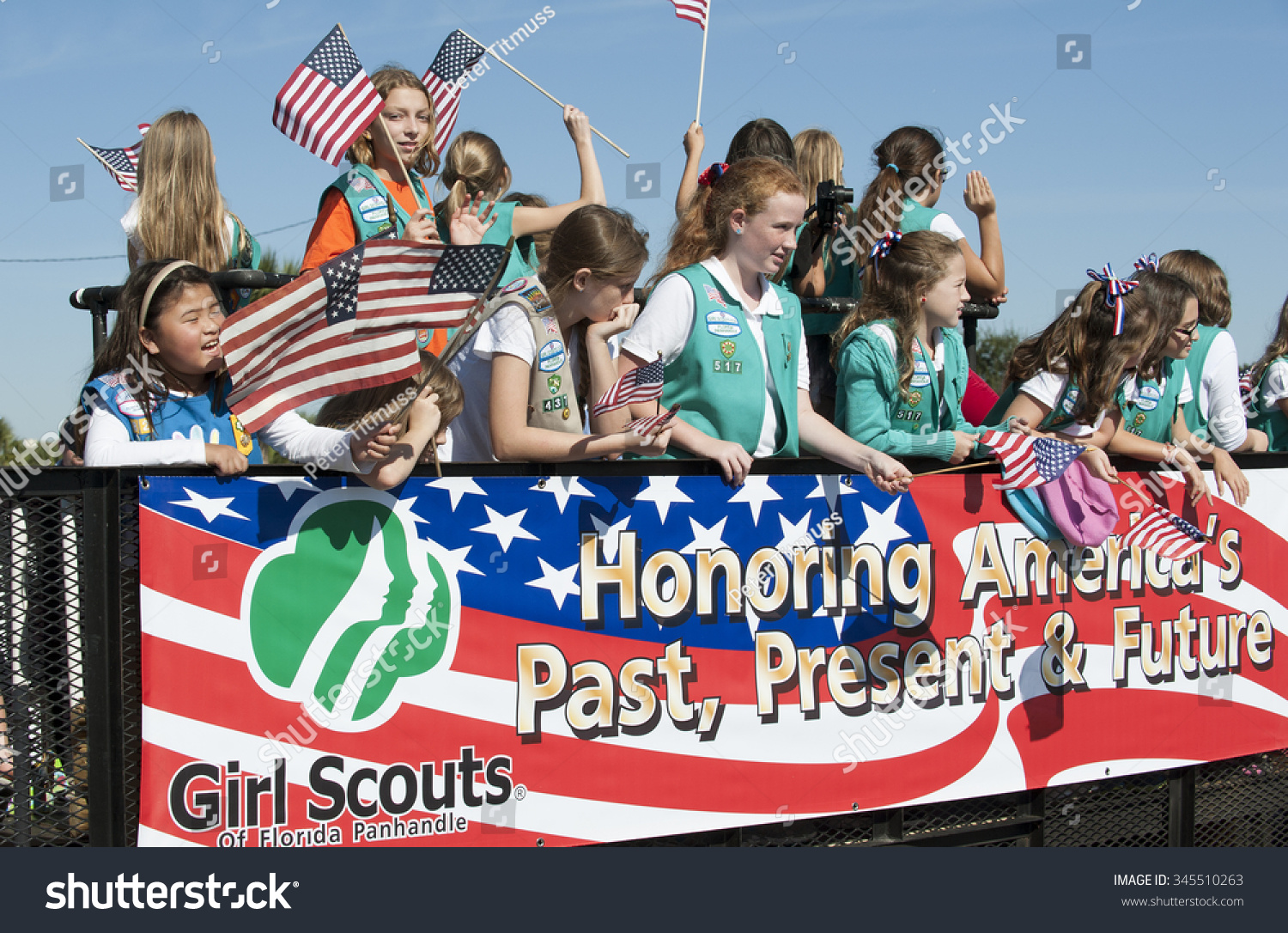 GIRL SCOUTS AMERICA VETERANS DAY PARADE Stock Photo (Edit