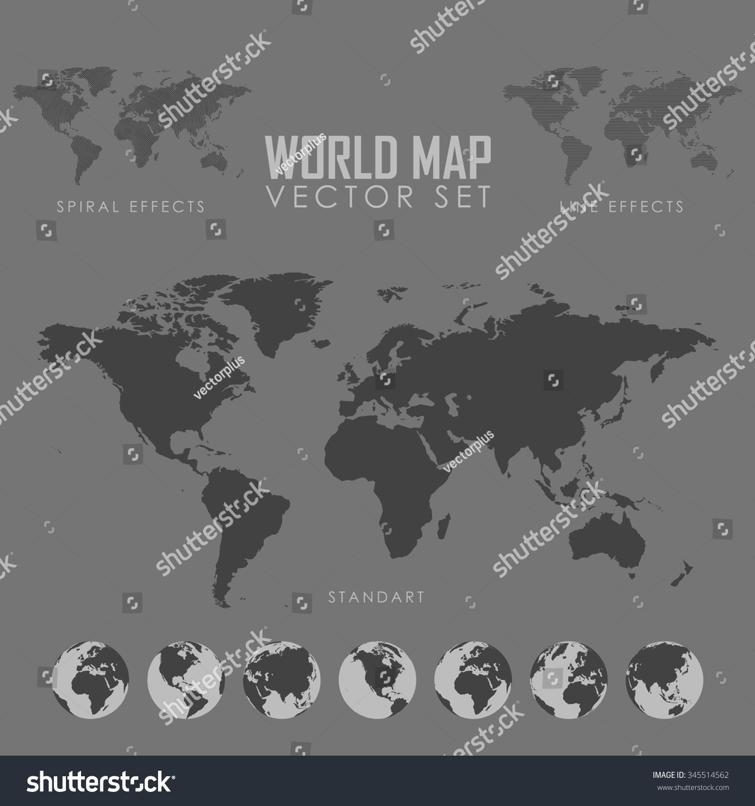 World Map Vector Illustration Globe Map Stock Vector 345514562