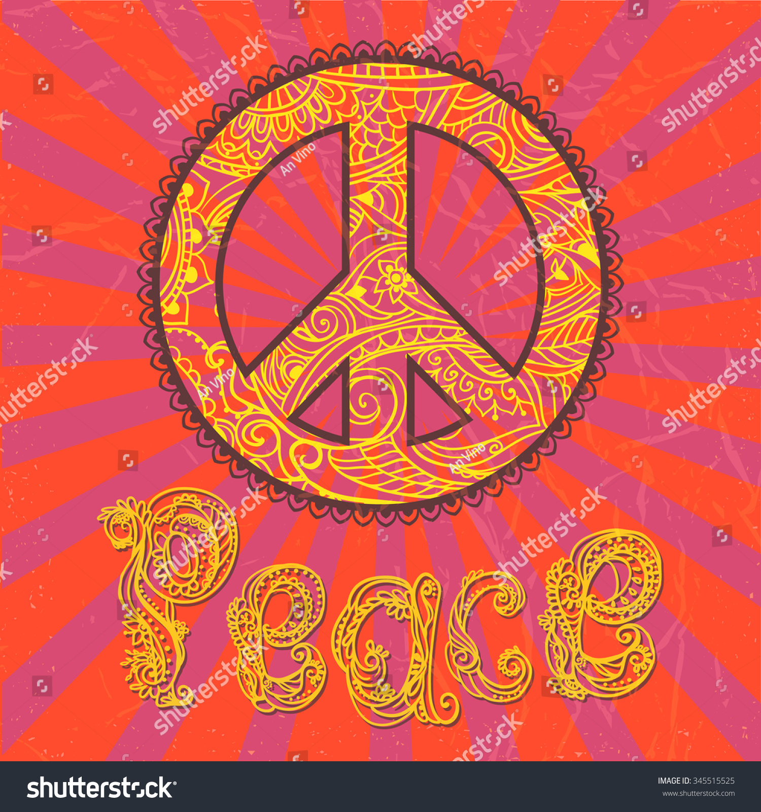 Hippie Style Ornamental Vintage Background Love Stock Vector Royalty Free 345515525