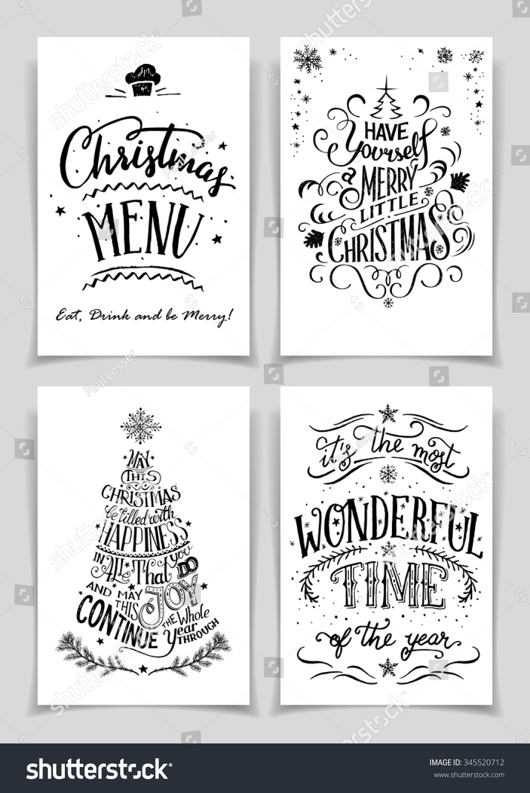 Christmas Greeting Cards Bundle Black Isolated Stock Vector Royalty