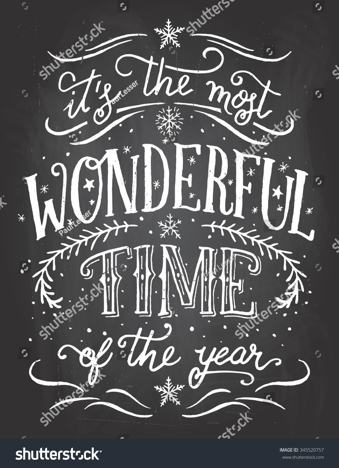 Most Wonderful Time Year Christmas New Stock Vector