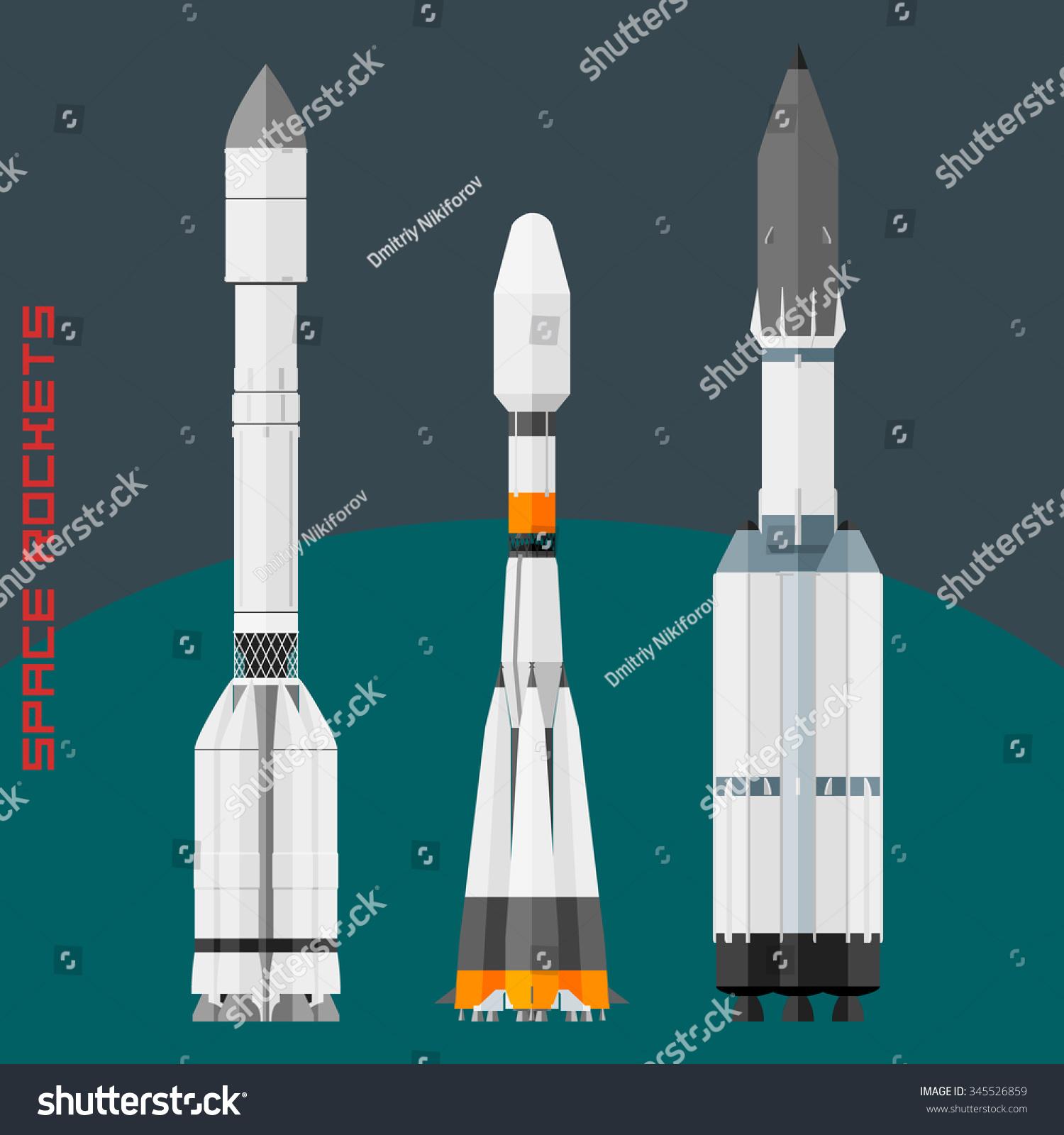 Russian Space Rockets Set Cargo Rocket Stock Vector ...