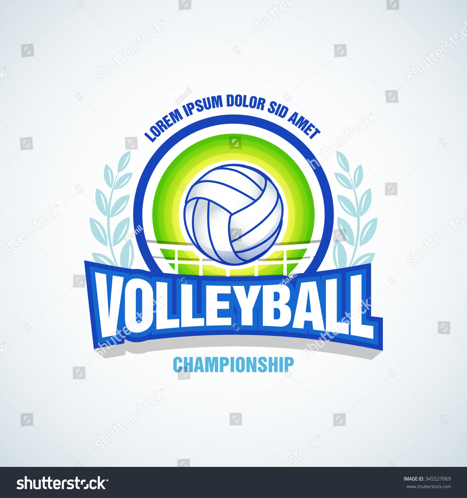 T shirt design volleyball - Volleyball Team Logo Template Volleyball Emblem Logotype Template T Shirt Apparel Design