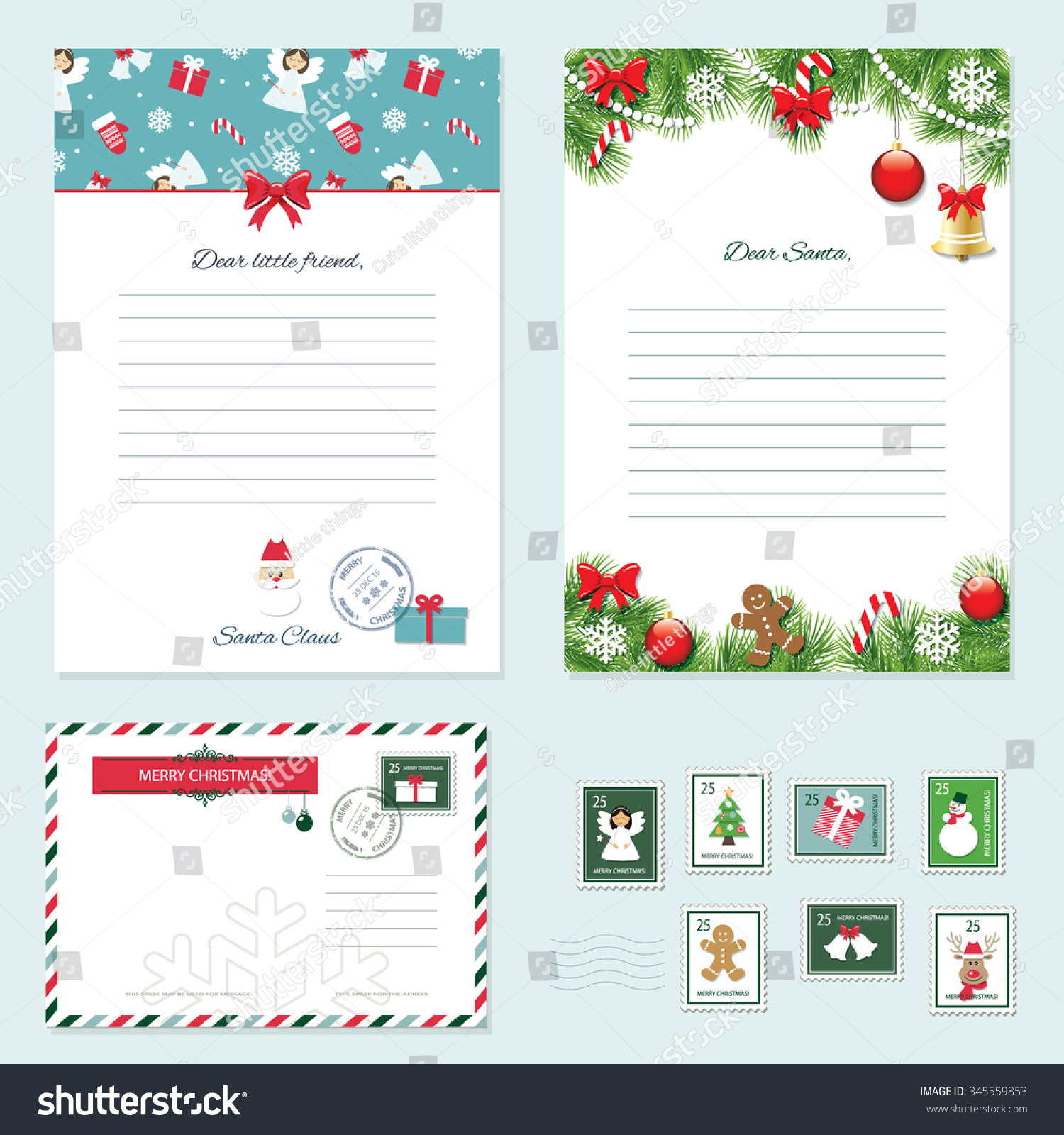 christmas templates set letter santa claus stock vector 345559853