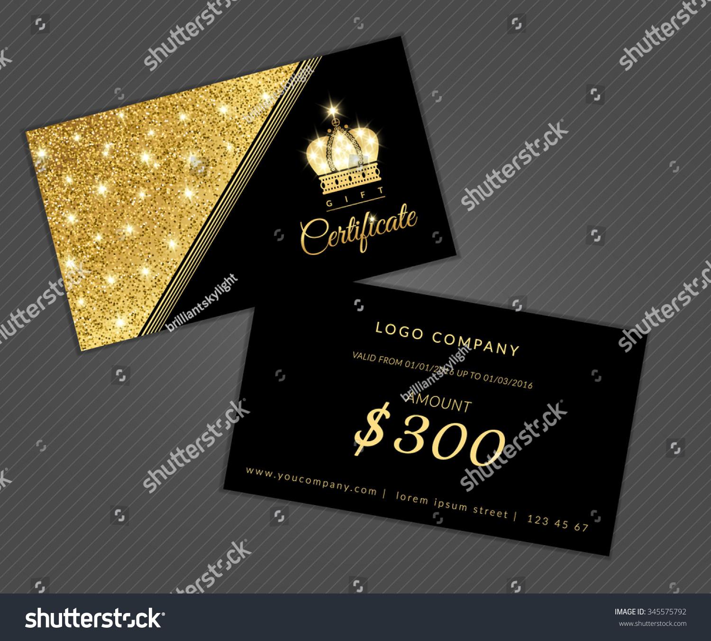 Modern Glamour Gift Certificate Golden Crown Stock Vector 345575792 ...
