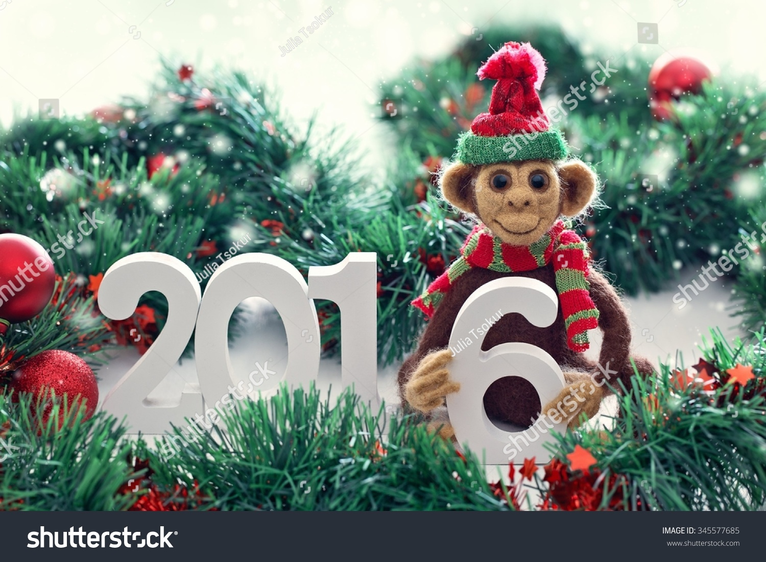 New Year 2016 The Year Of The Monkey Homemade Toy Monkey With A Christmas Decorations Symbol