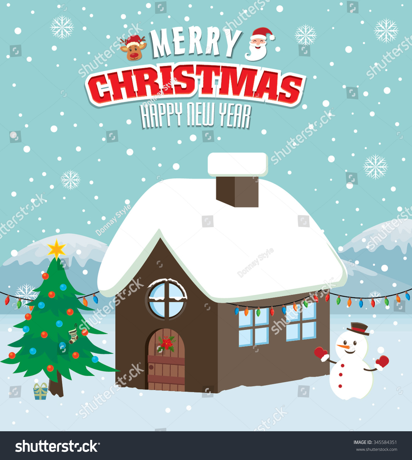 Xmas poster design - Vintage Christmas Poster Design