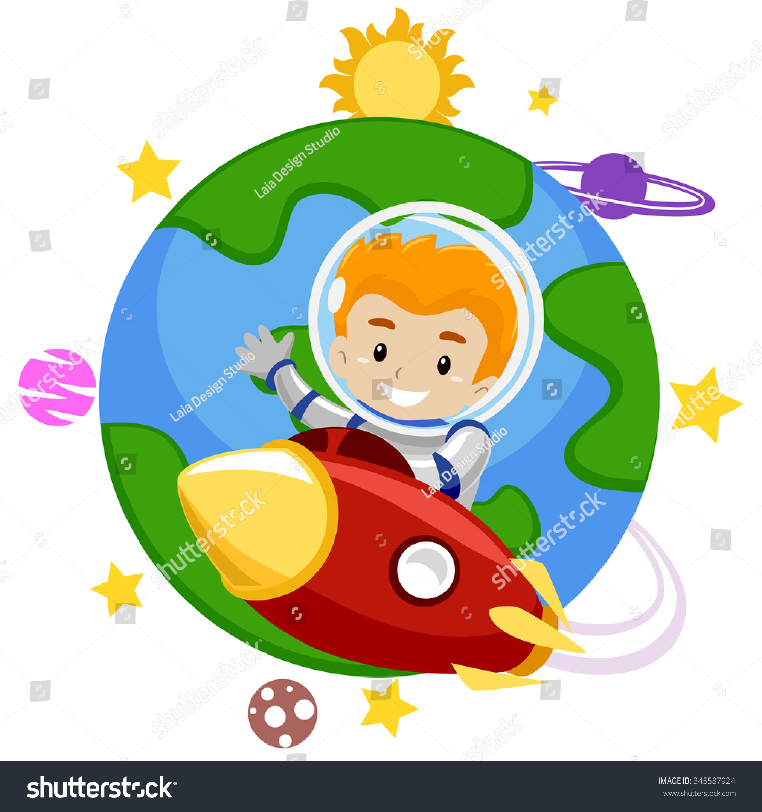 vector illustration rocket kid leaving earth stock vector