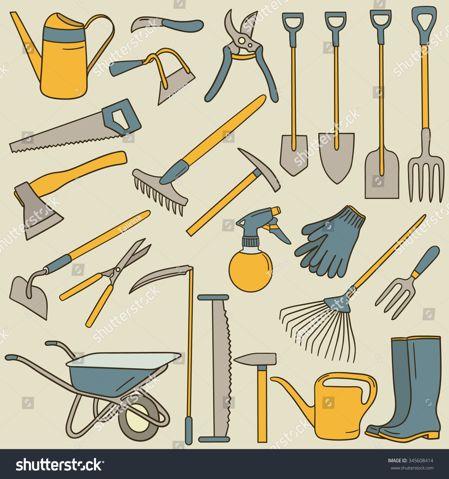 Hand Drawn Collection Farming Tools Big Stock Vector 345608414 ...