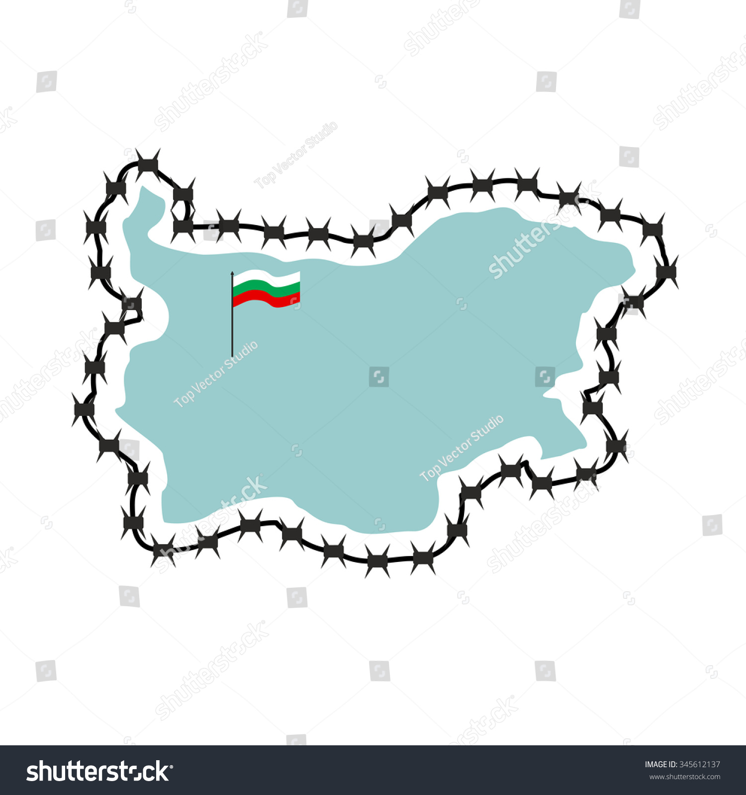 Royalty Free Stock Illustration of Map Bulgaria Map States Barbed ...