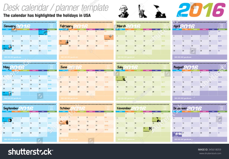 Desk Calendar Planner : Useful desk calendar planner template ready stock vector