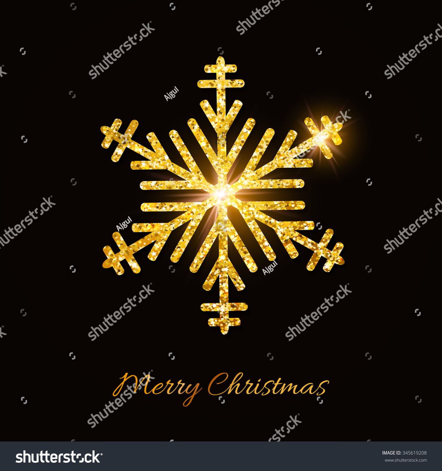 merry christmas and happy new year background golden glitter snowflake on black background festive