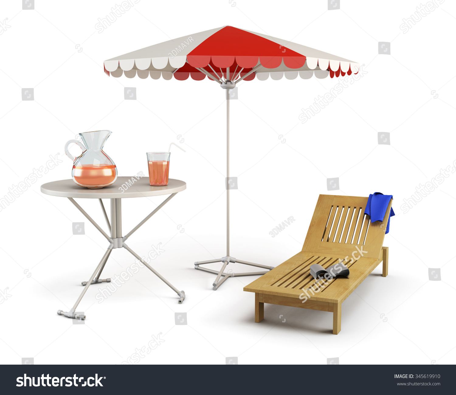 Table, Sun Lounger And Beach Umbrella   Place Of Rest On A White. 3d