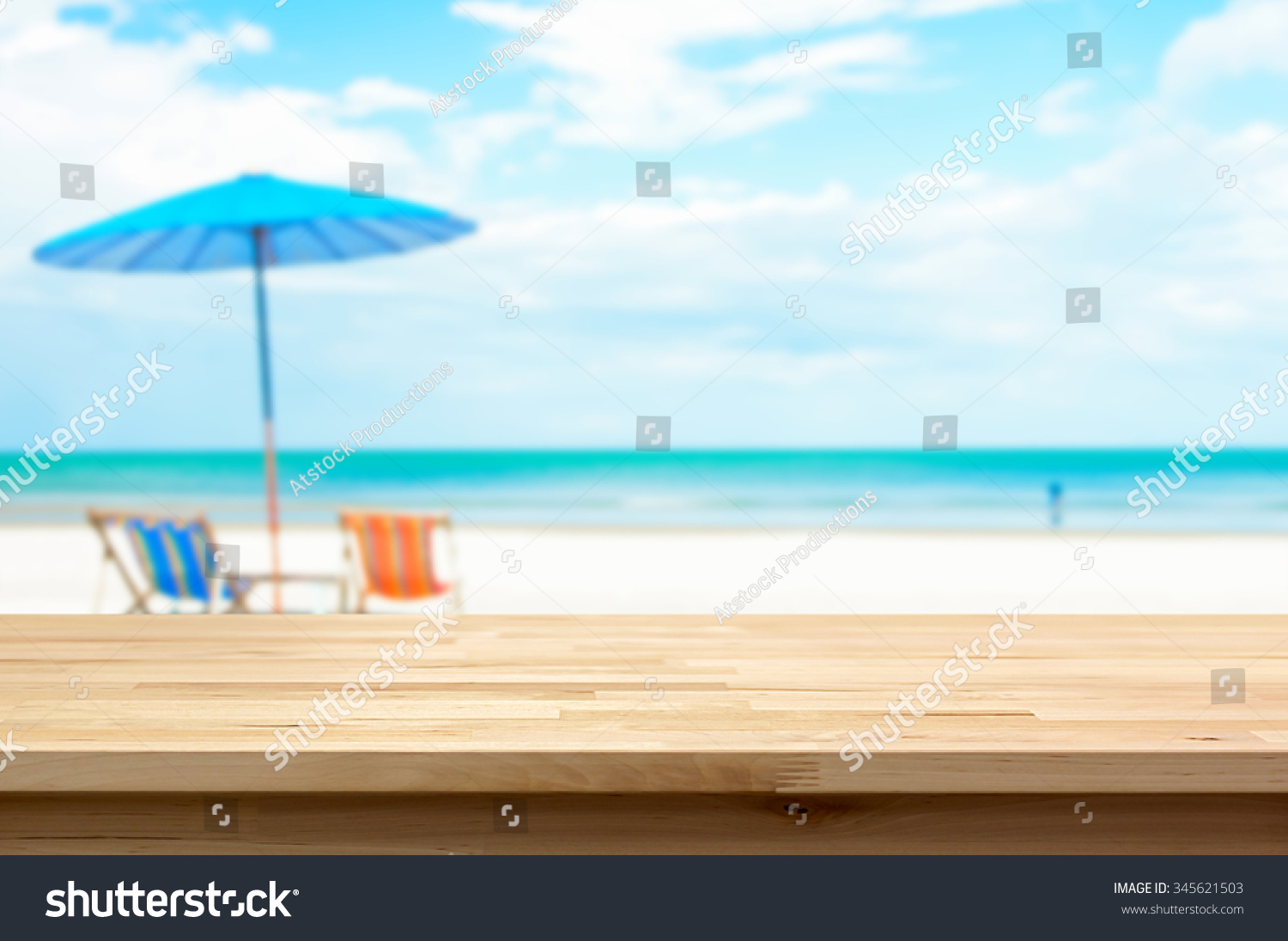 Wood Table Top On Blur White Sand Beach Background, Summer Holiday  Background Concept   Can