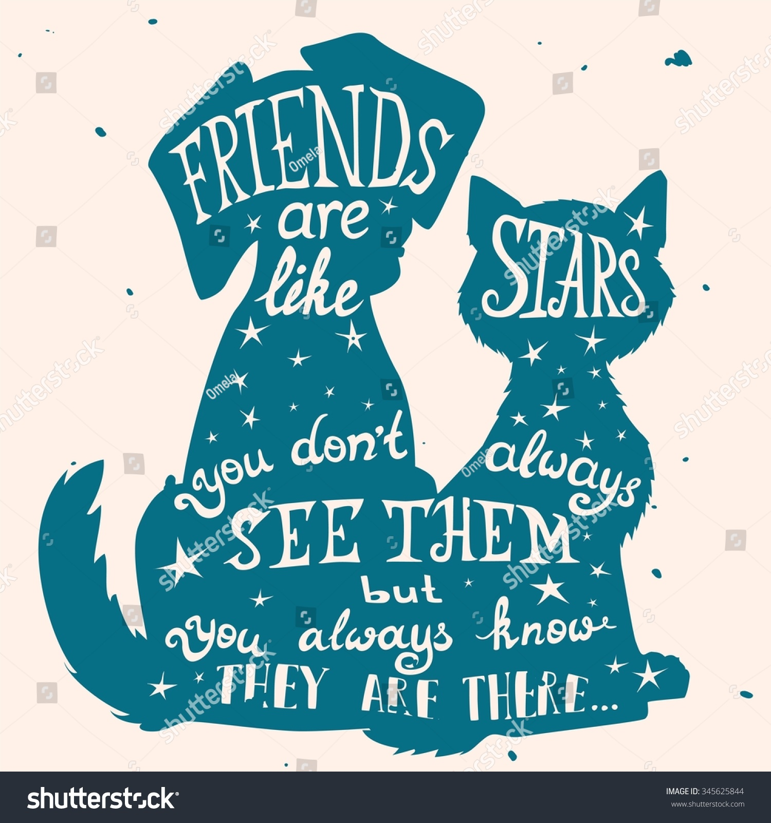 Cat Dog Friends Grungy Card Friendship Stock Vector 345625844