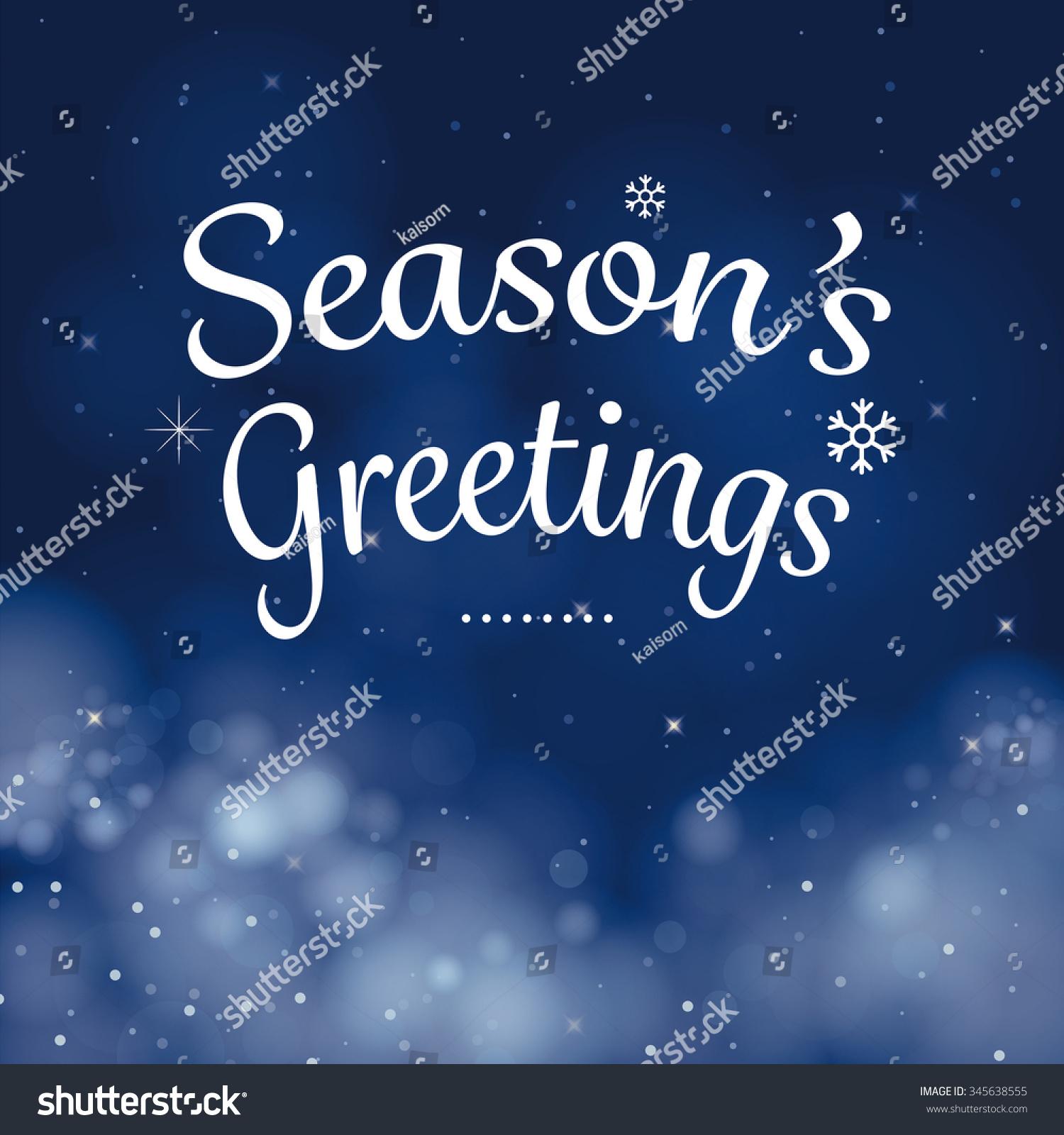 Seasons Greetings Calligraphy Card Vector Design Stock Vector