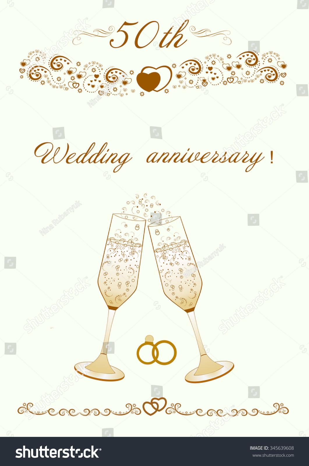 50th Wedding Anniversary Invitation Beautiful Editable Vector Stock ...