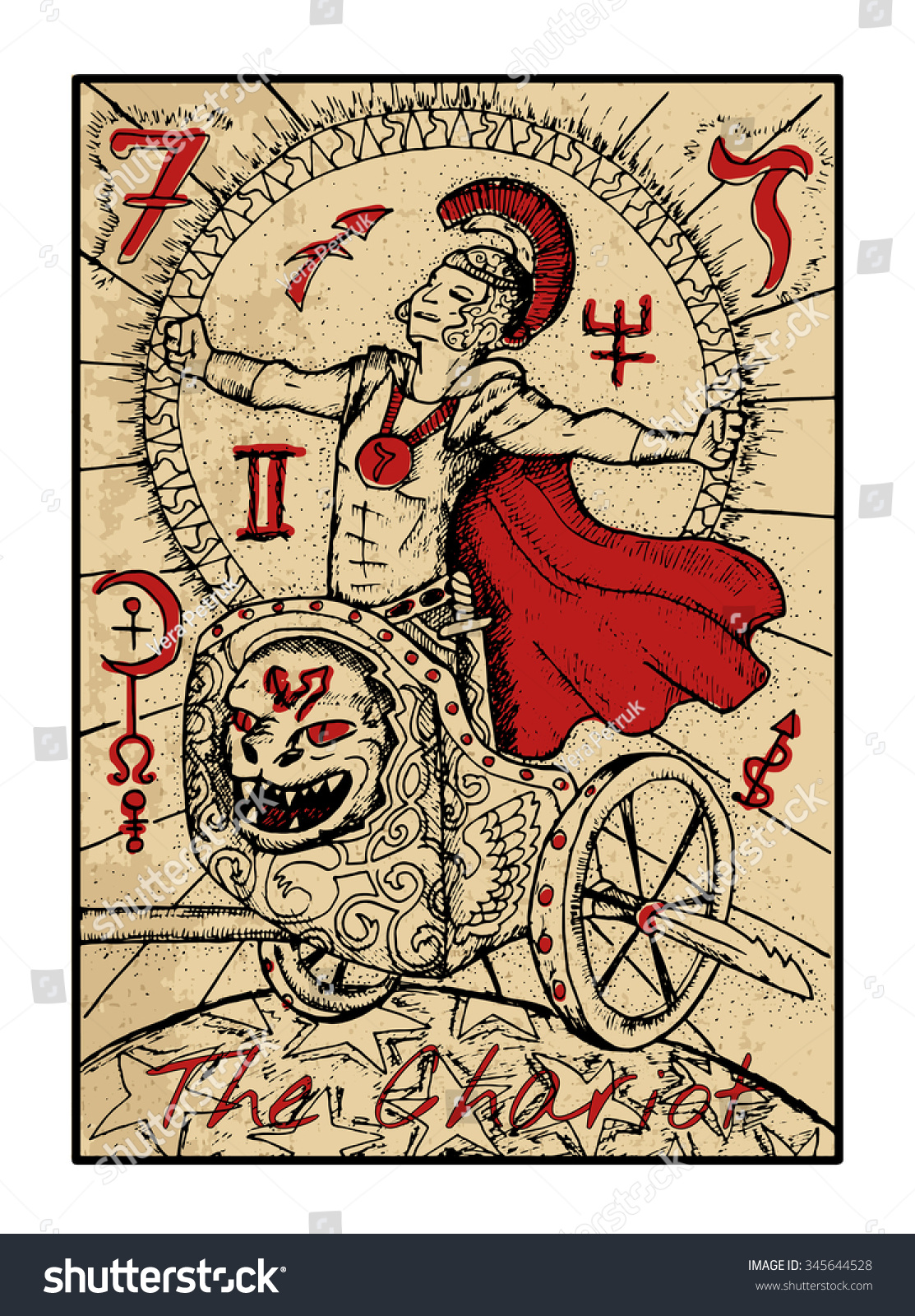 The Chariot. The Major Arcana Tarot Card In Color, Vintage
