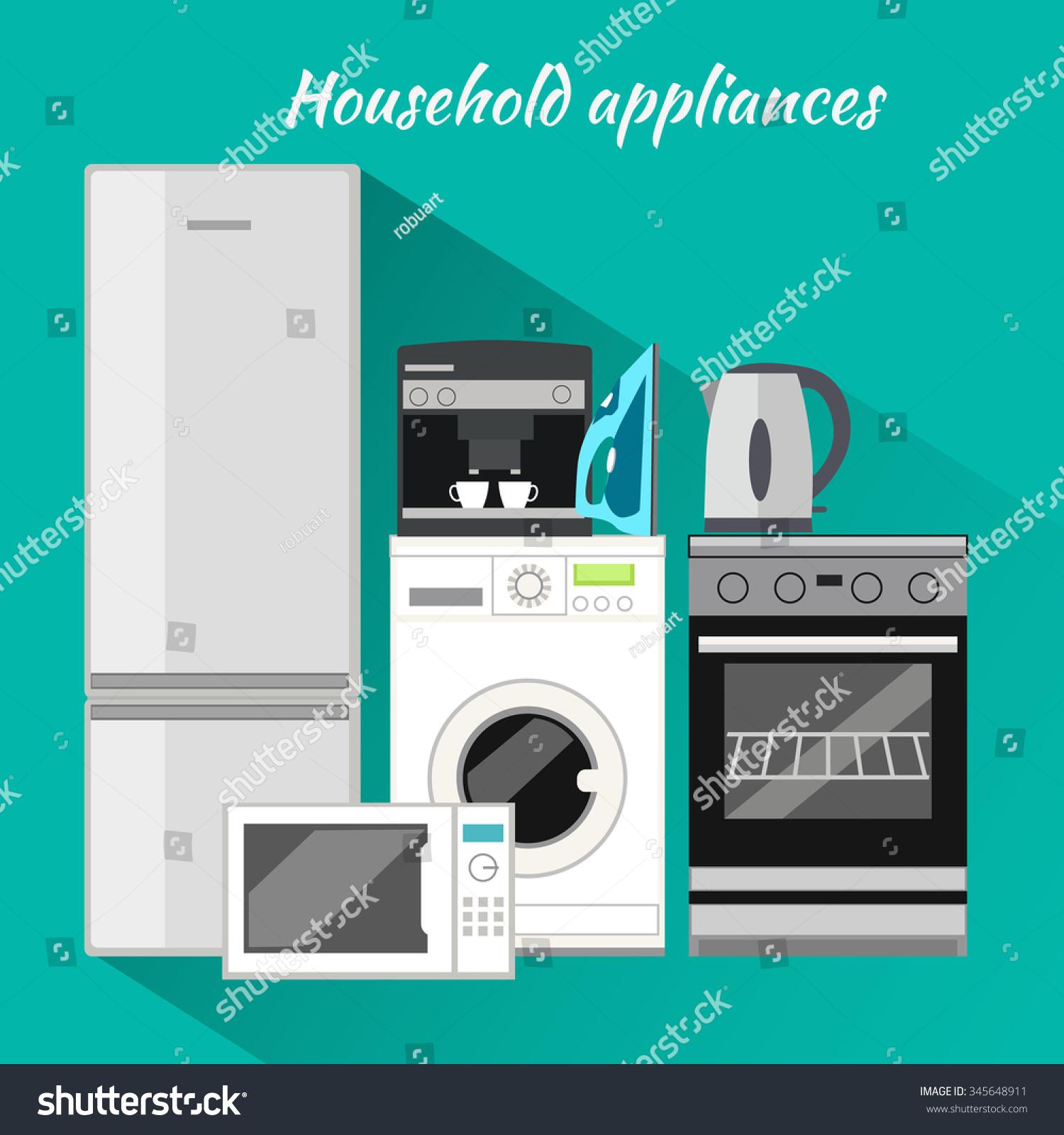 Household Appliances Flat Design Household Items Stock Vector ...
