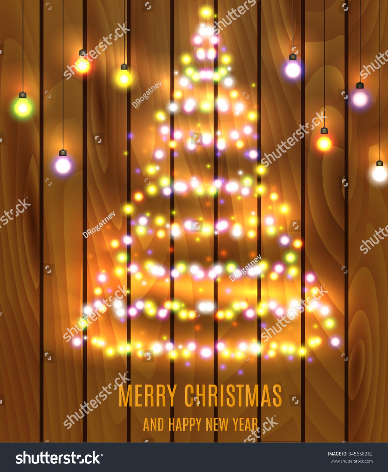 Christmas Tree Made Christmas Lights Illustration Stock Illustration