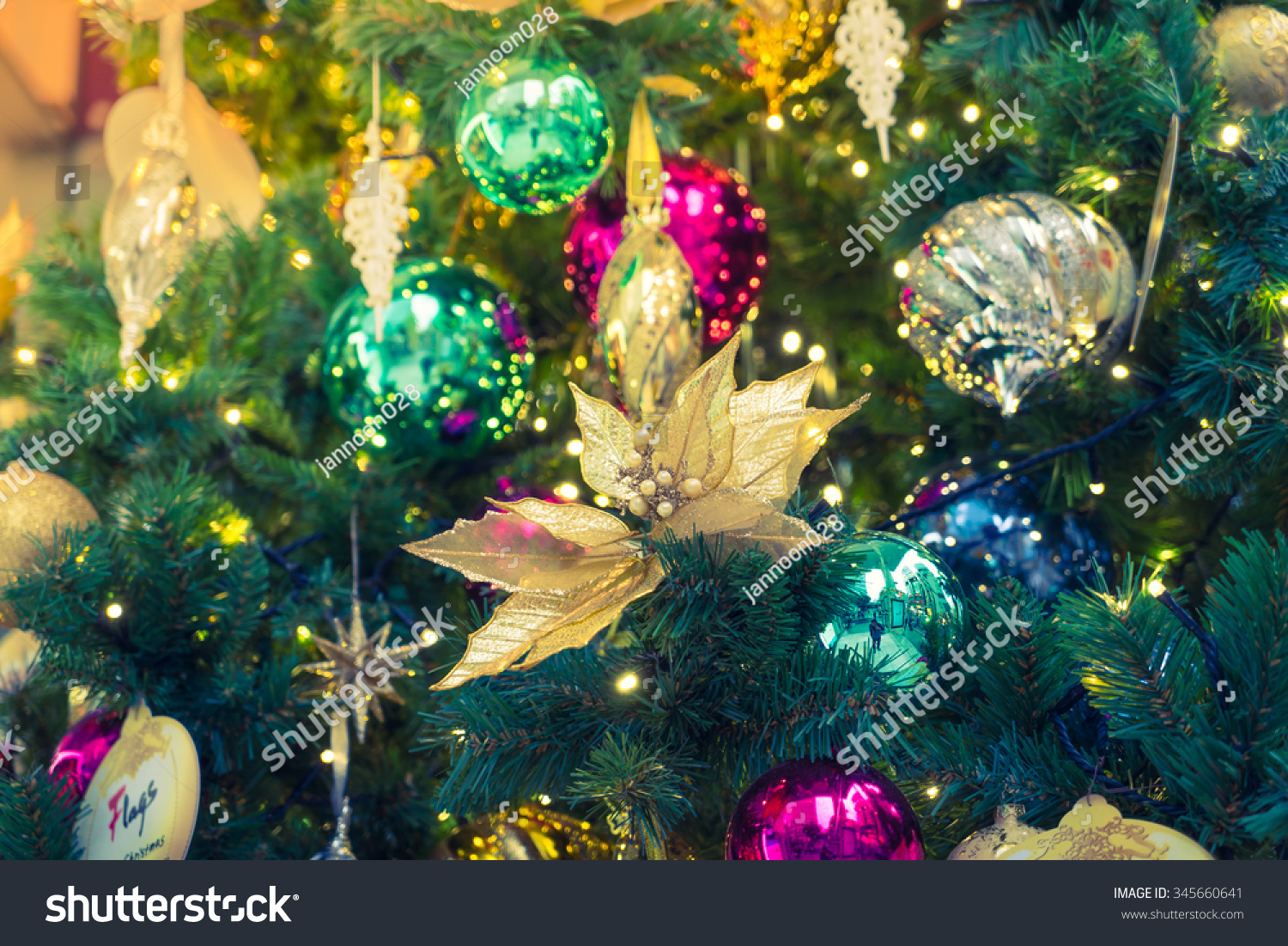 Closeup Of Christmas Tree Decorations Background Filtered Image Processed Vintage Effect