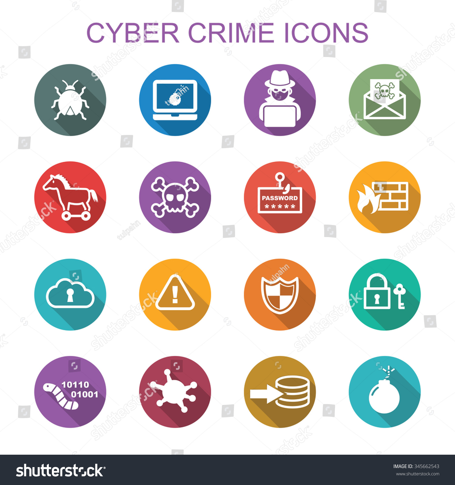 cyber crime long shadow icons flat stock vector 345662543