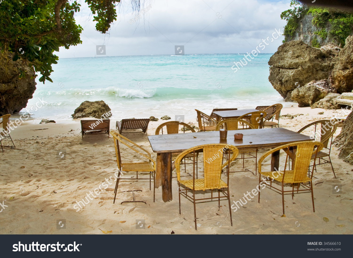 Remarkable Abstract Vacant Beach Bar Table Stock Photo Edit Now Home Interior And Landscaping Pimpapssignezvosmurscom