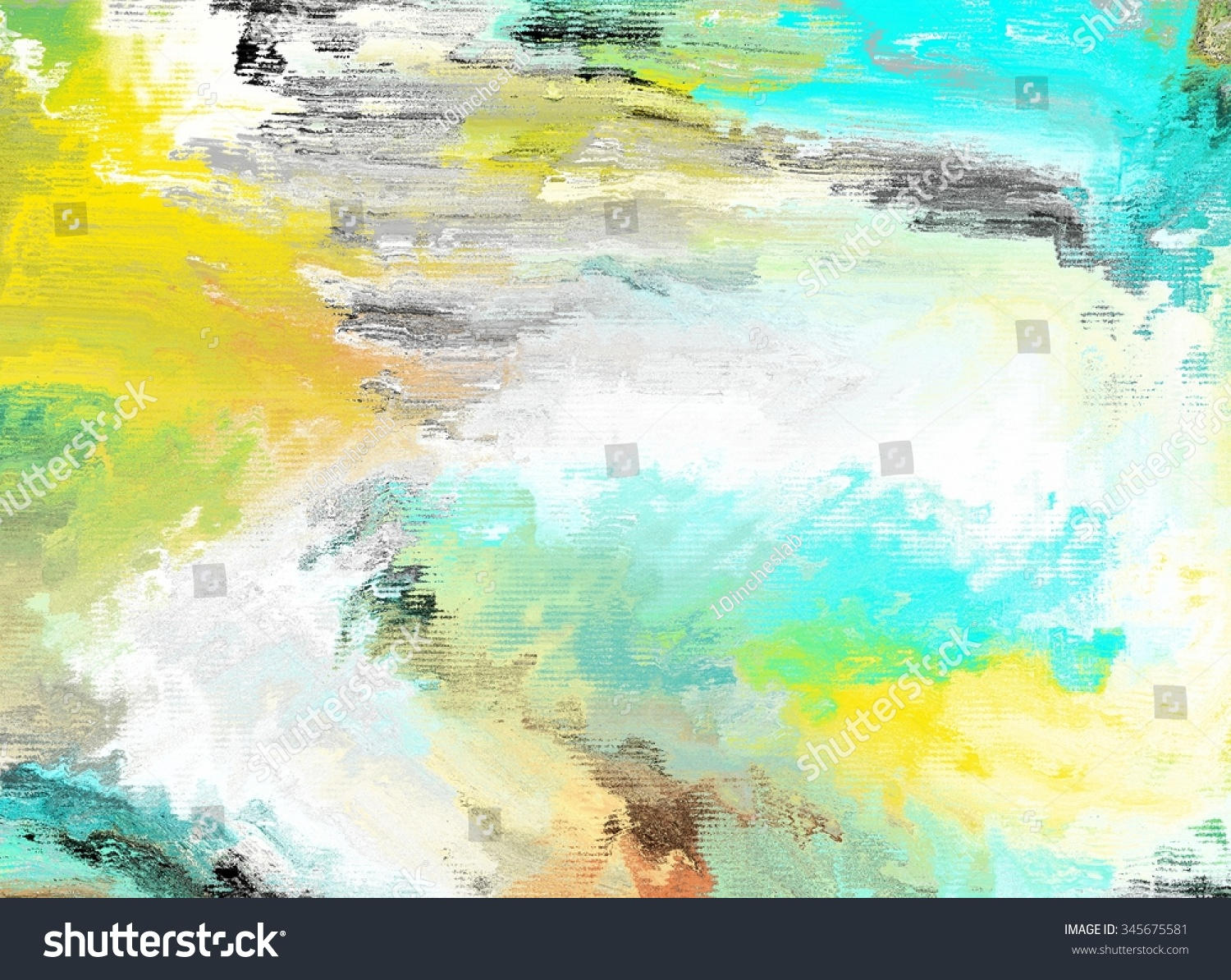 White Green Yellow Abstract Painting Texture Stock Illustration