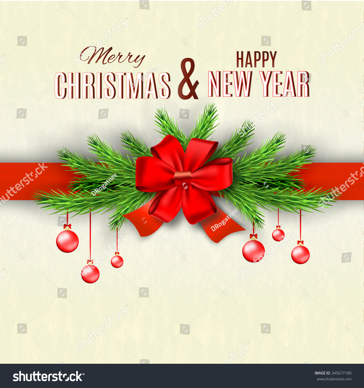 Happy new year merry christmas greeting stock illustration 345677180 happy new year and merry christmas greeting card design illustration red silk bow with kristyandbryce Image collections