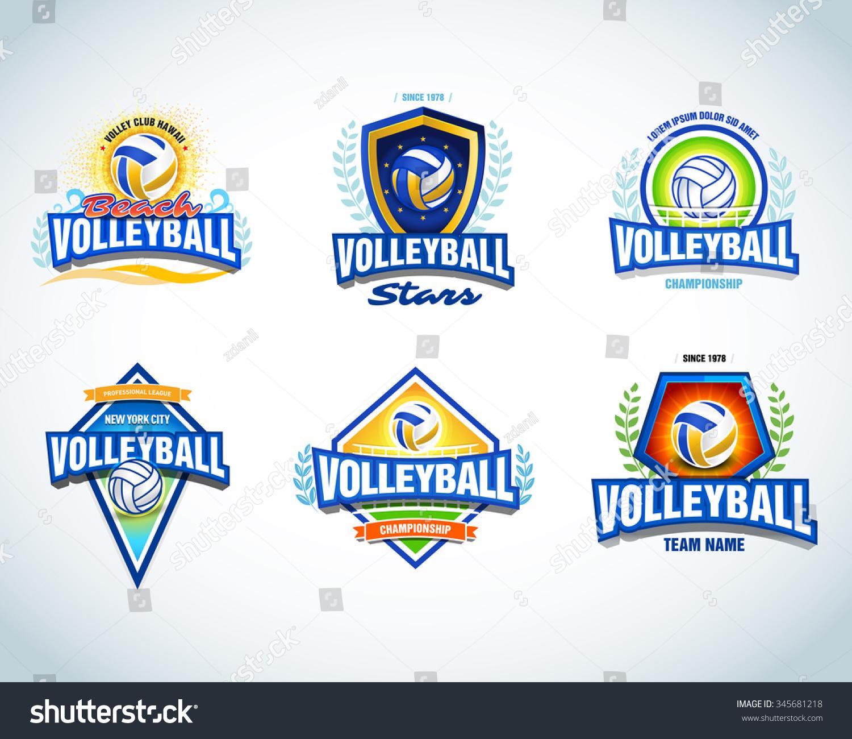 T shirt design volleyball - Volleyball Logo Templates Set Volleyball Emblem Logotype Template T Shirt Apparel Design