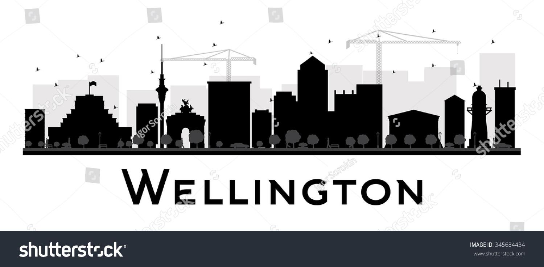 f41f6e7abd93 Wellington City skyline black and white silhouette. Vector illustration.  Simple flat concept for tourism