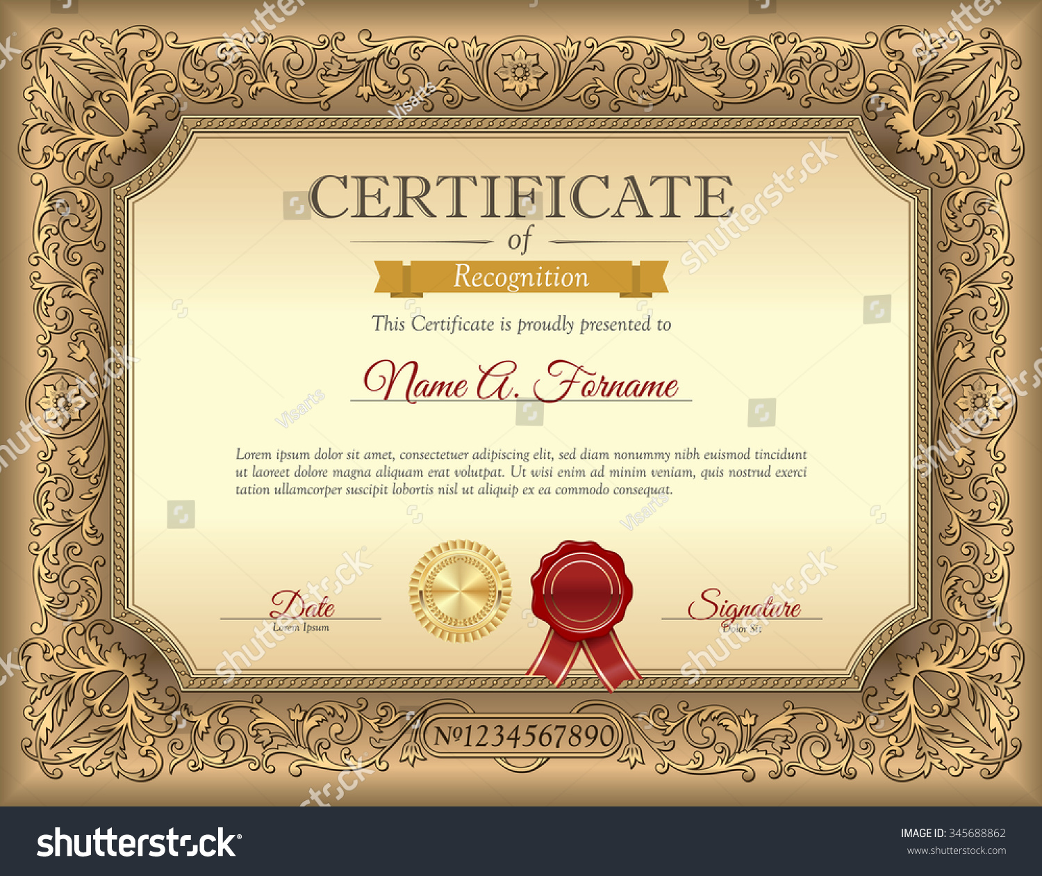 Vintage certificate of recognition template with ornament frame vintage certificate of recognition template with ornament frame yelopaper Image collections