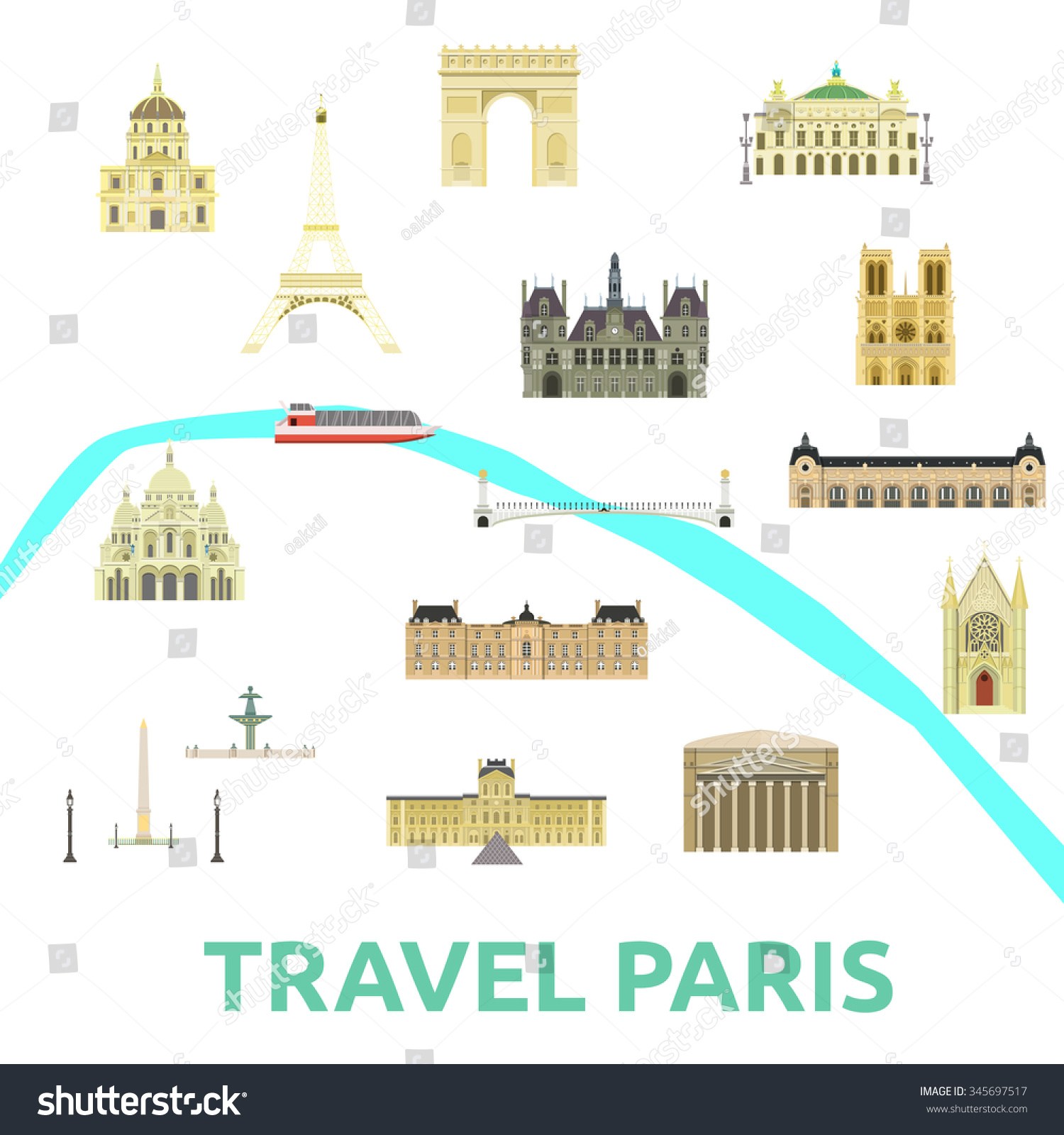 Map Paris Attraction Landmarkbridge Museum Opera Vector – Attraction Map of Paris