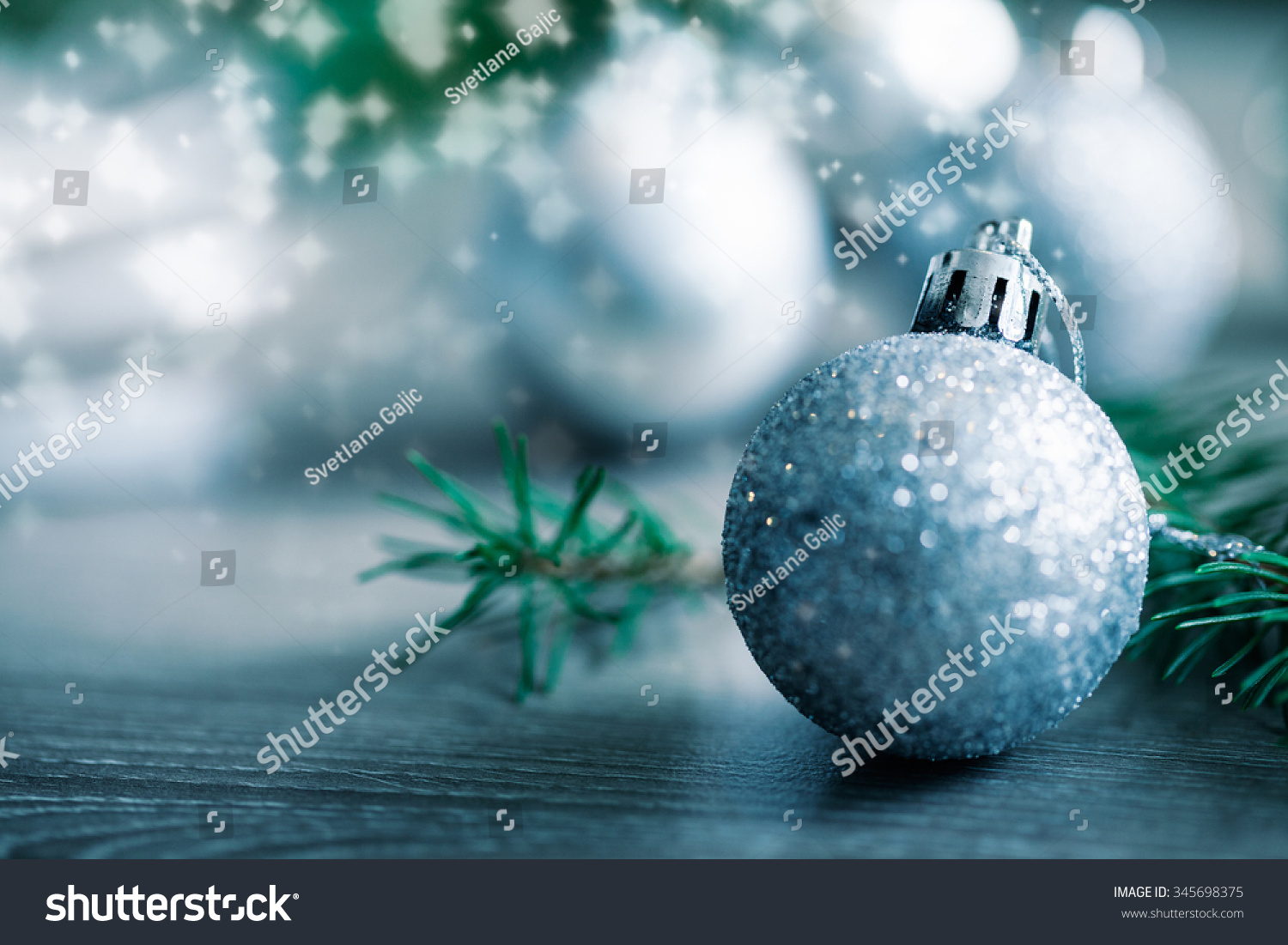 Pine Branches For Decoration Close Beautiful Silver Christmas Decoration Silver Stock Photo