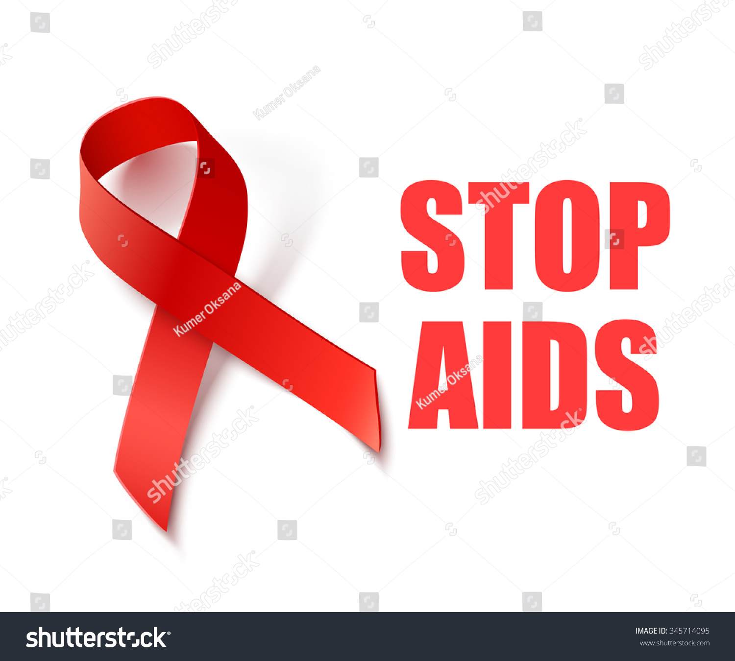 Stop Aids Background Red Ribbon Aids Stock Illustration 345714095