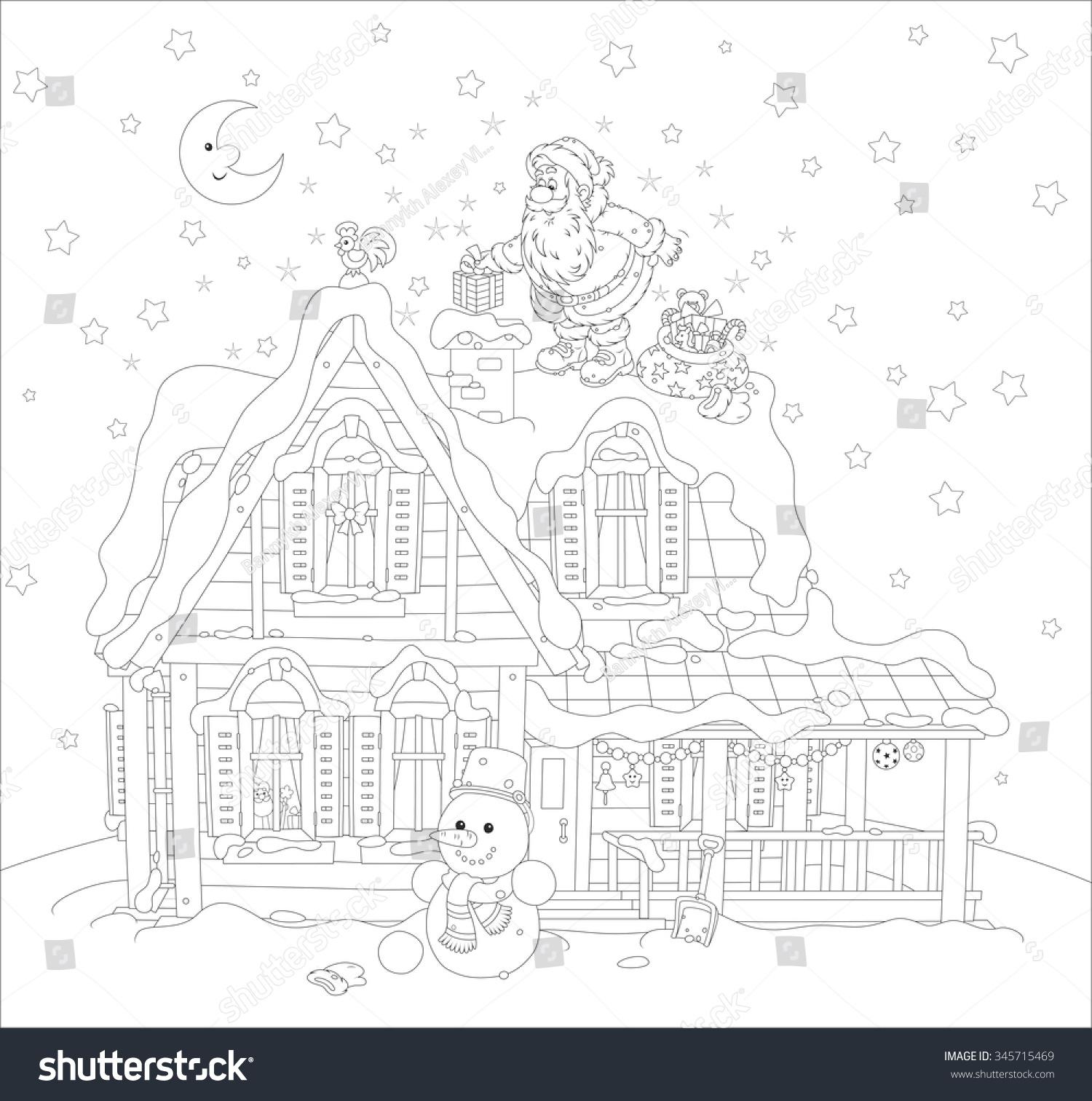 Night Before Christmas Santa Claus Putting Stock Vector