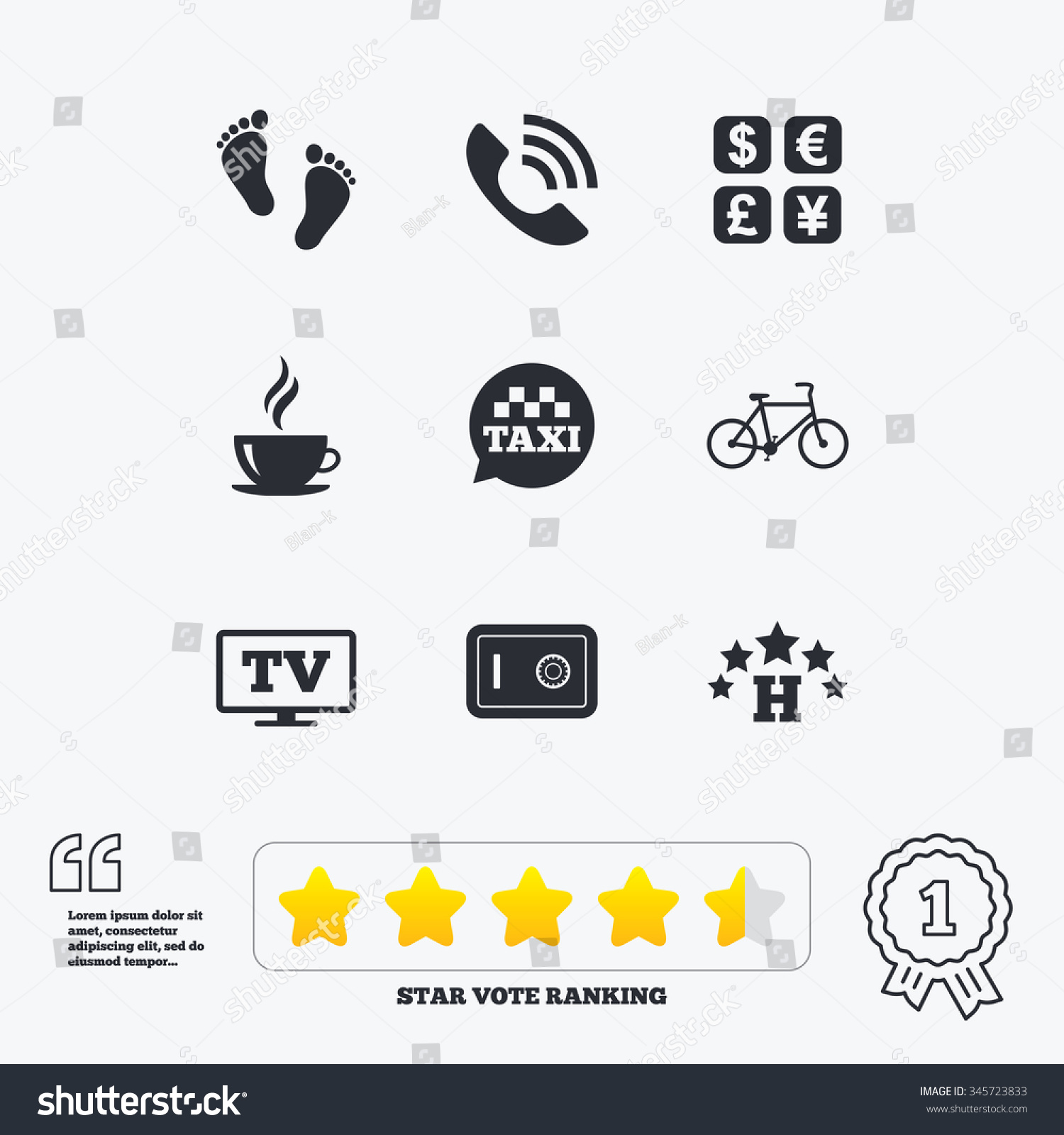 Phone Call Quotes Hotel Apartment Services Icons Coffee Sign Stock Vector 345723833