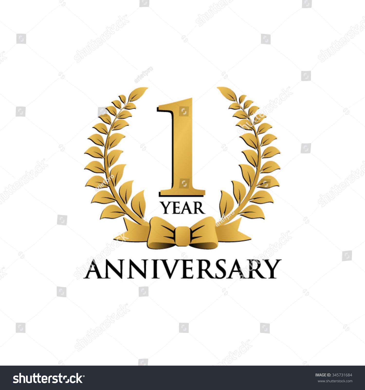 Year anniversary wreath ribbon logo stock vector
