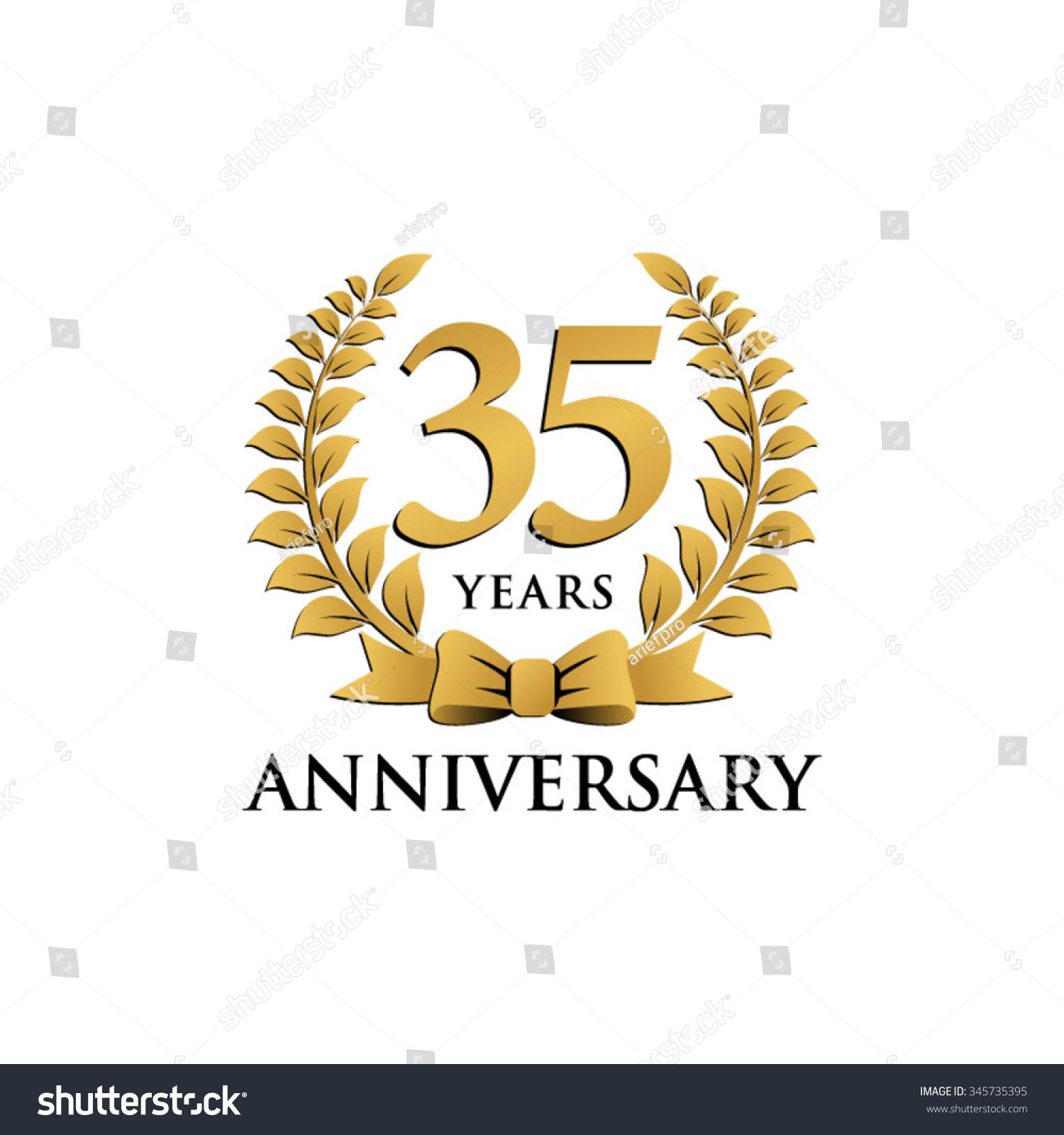 35 Years Anniversary Wreath Ribbon Logo Stock Vector Royalty Free