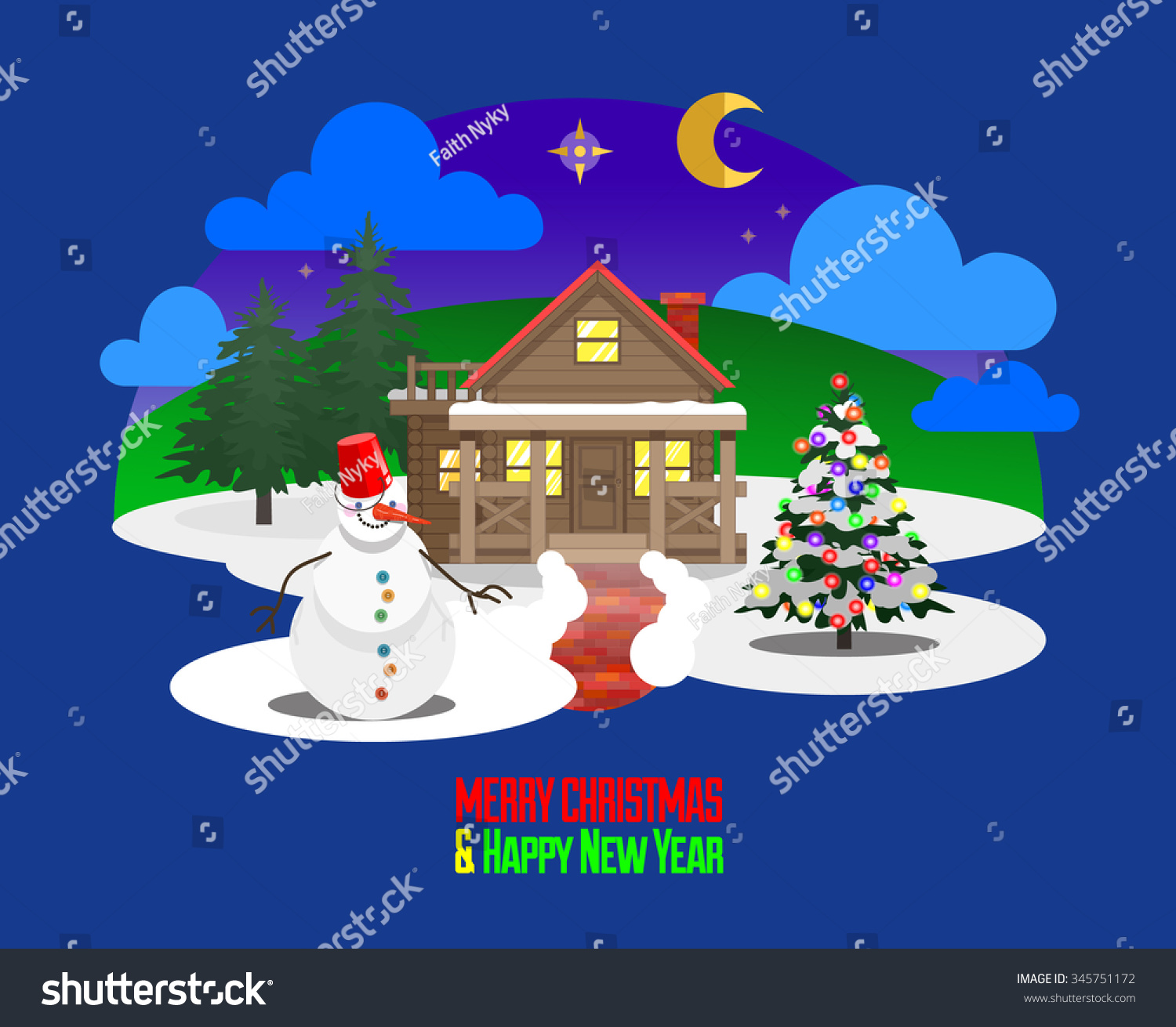 merry christmas and happy new year greetings card christmas eve scene first star