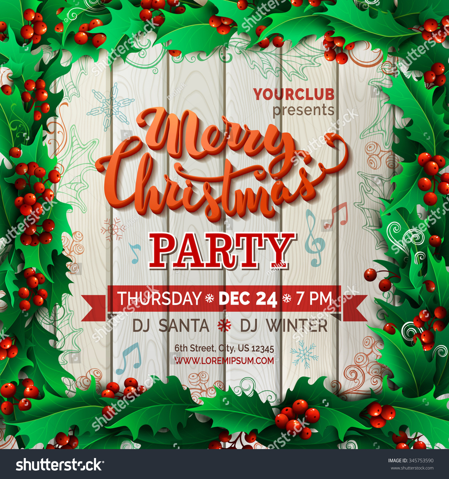 Merry Christmas Music Party Template Vector holly berries Christmas background There is place for your text on wood background in the center