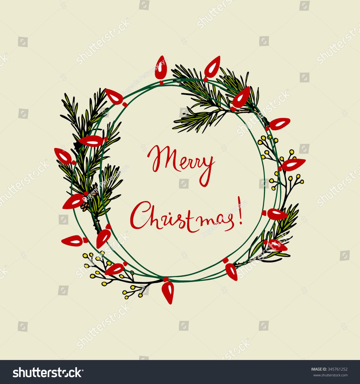Vector Christmas Greeting Card Hand Drawn Stock Vector (Royalty Free ...
