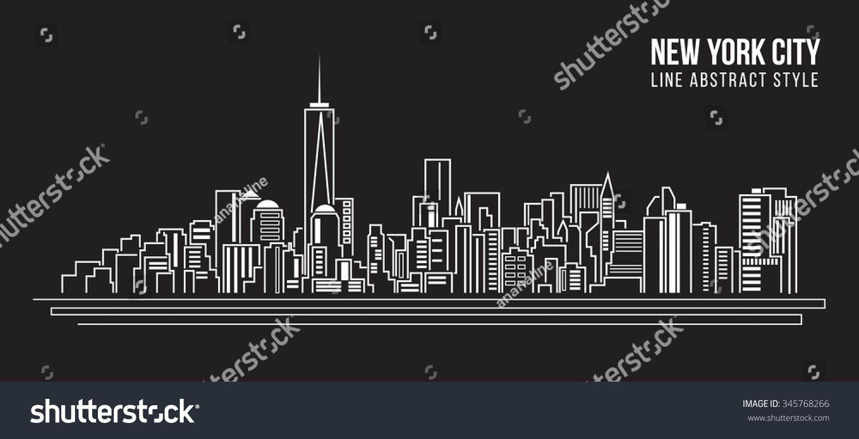 Line Art New York : Cityscape building line art vector illustration stock