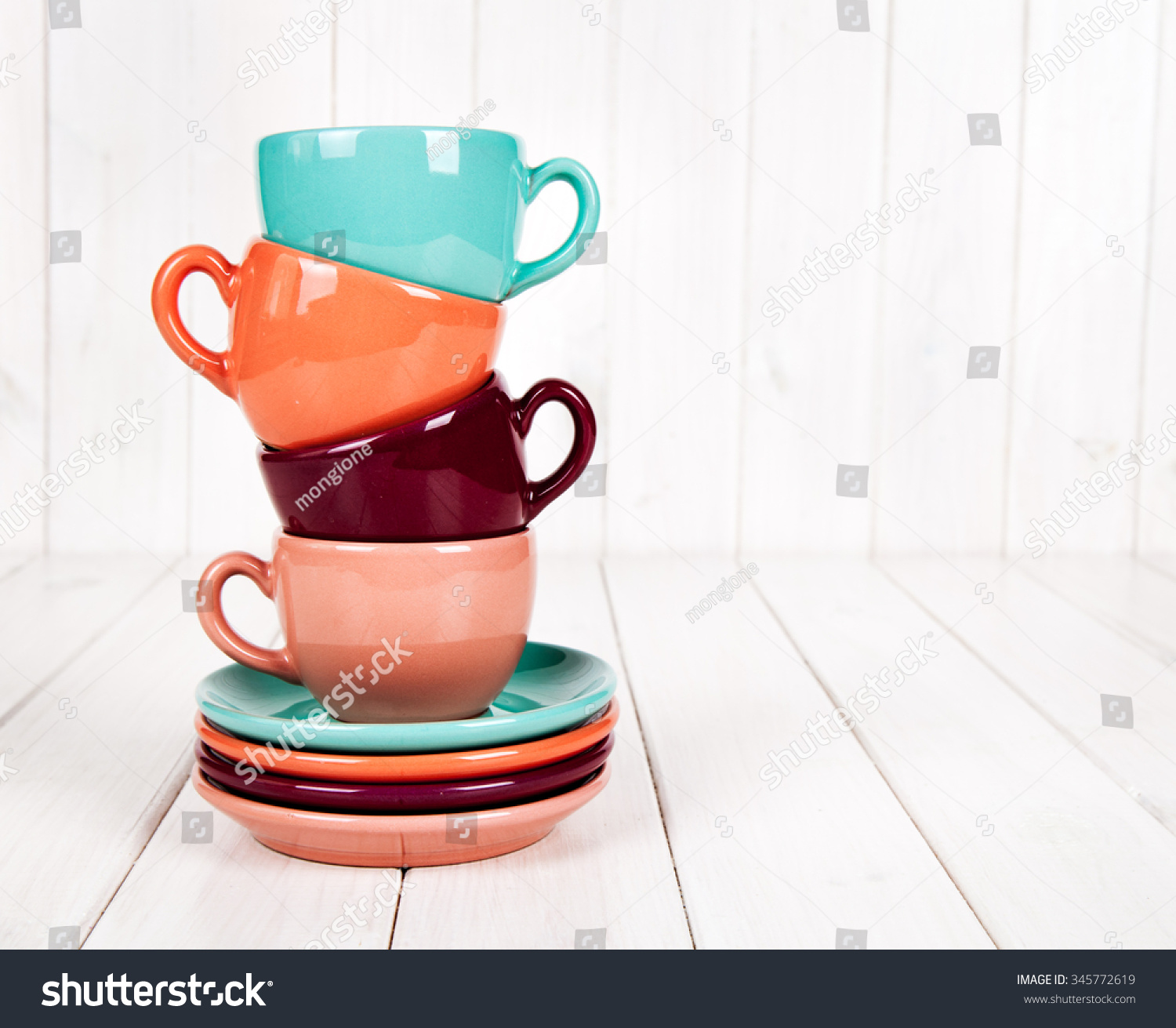 colorful coffee cups on white wooden background ez canvas