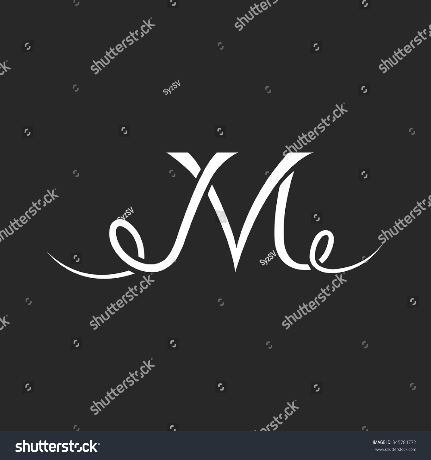 monogram tattoo m letter logo hand drawn thin line overlapping mockup calligraphic tattoo design
