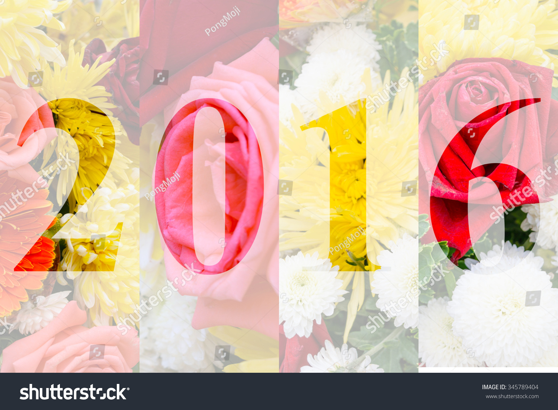 Happy New Year 2016 Flower Theme Stock Photo 345789404